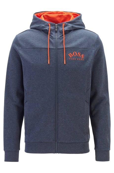 Zip-through hooded sweatshirt with curved logo, Blue