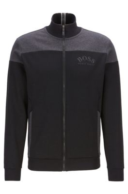 Zip-through sweatshirt in contrast fabrics with curved logo, Black