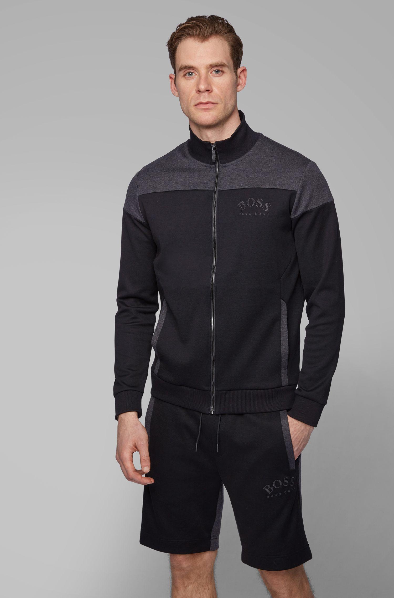 Sweat zippé en tissus contrastants avec logo incurvé, Noir
