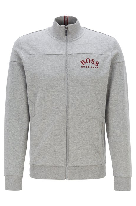 Zip-through sweatshirt in contrast fabrics with curved logo, Light Grey