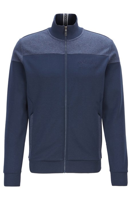 Zip-through sweatshirt in contrast fabrics with curved logo, Dark Blue