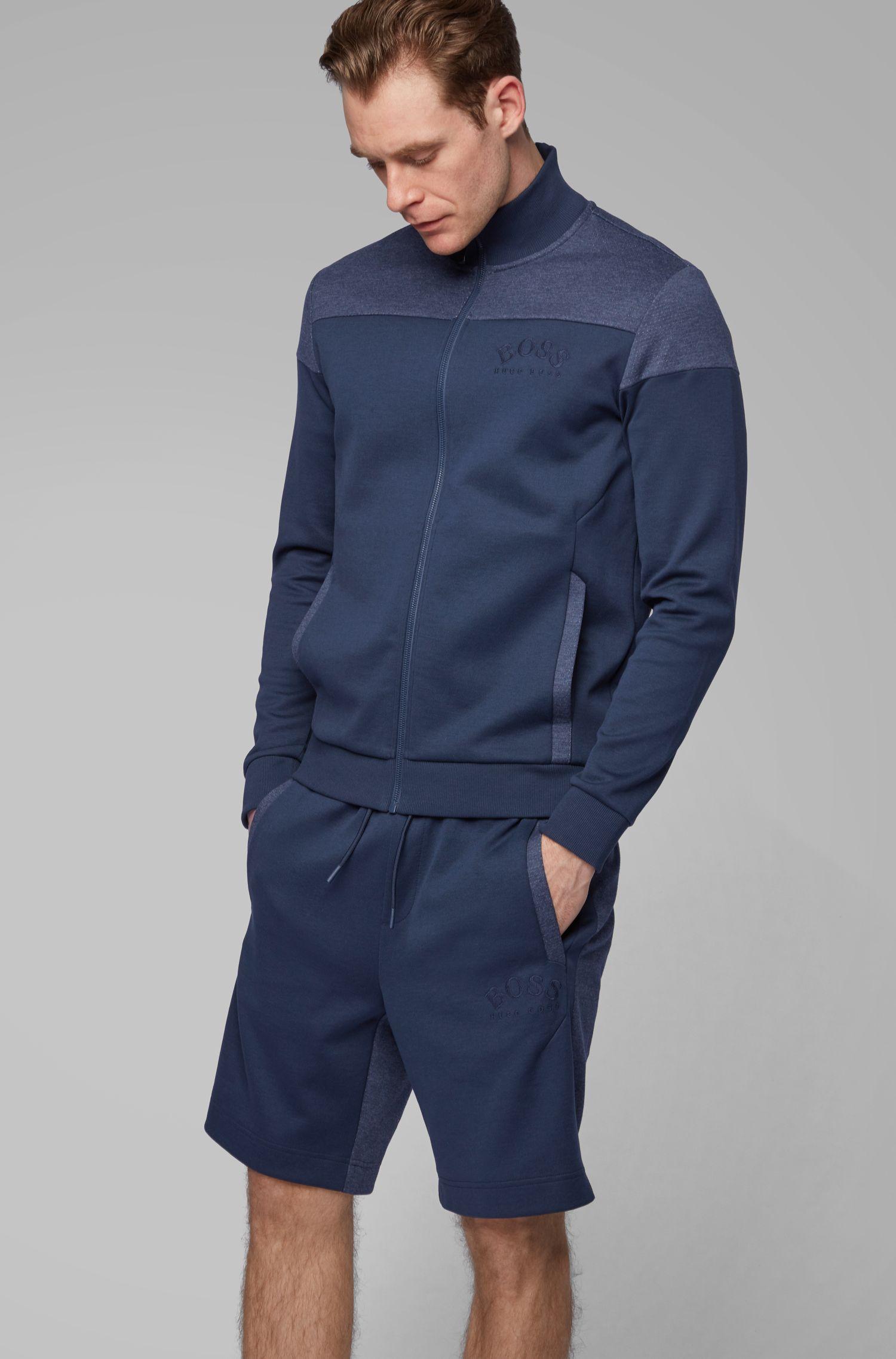 Felpa con zip integrale in tessuti a contrasto con logo arrotondato, Blu scuro