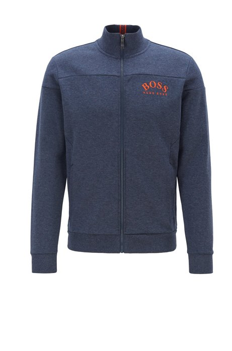 Zip-through sweatshirt in contrast fabrics with curved logo, Open Blue