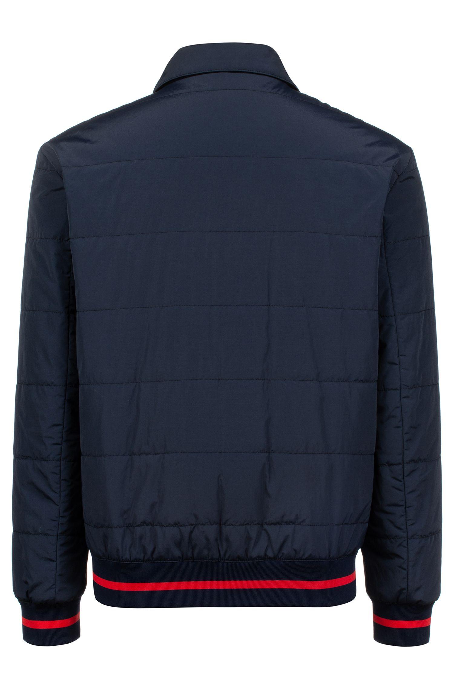 Veste Slim Fit déperlante avec logo partiellement dissimulé, Bleu foncé