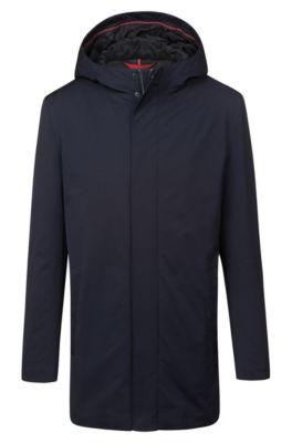 Manteau Slim Fit à capuche et fermeture éclair invisible, Bleu foncé