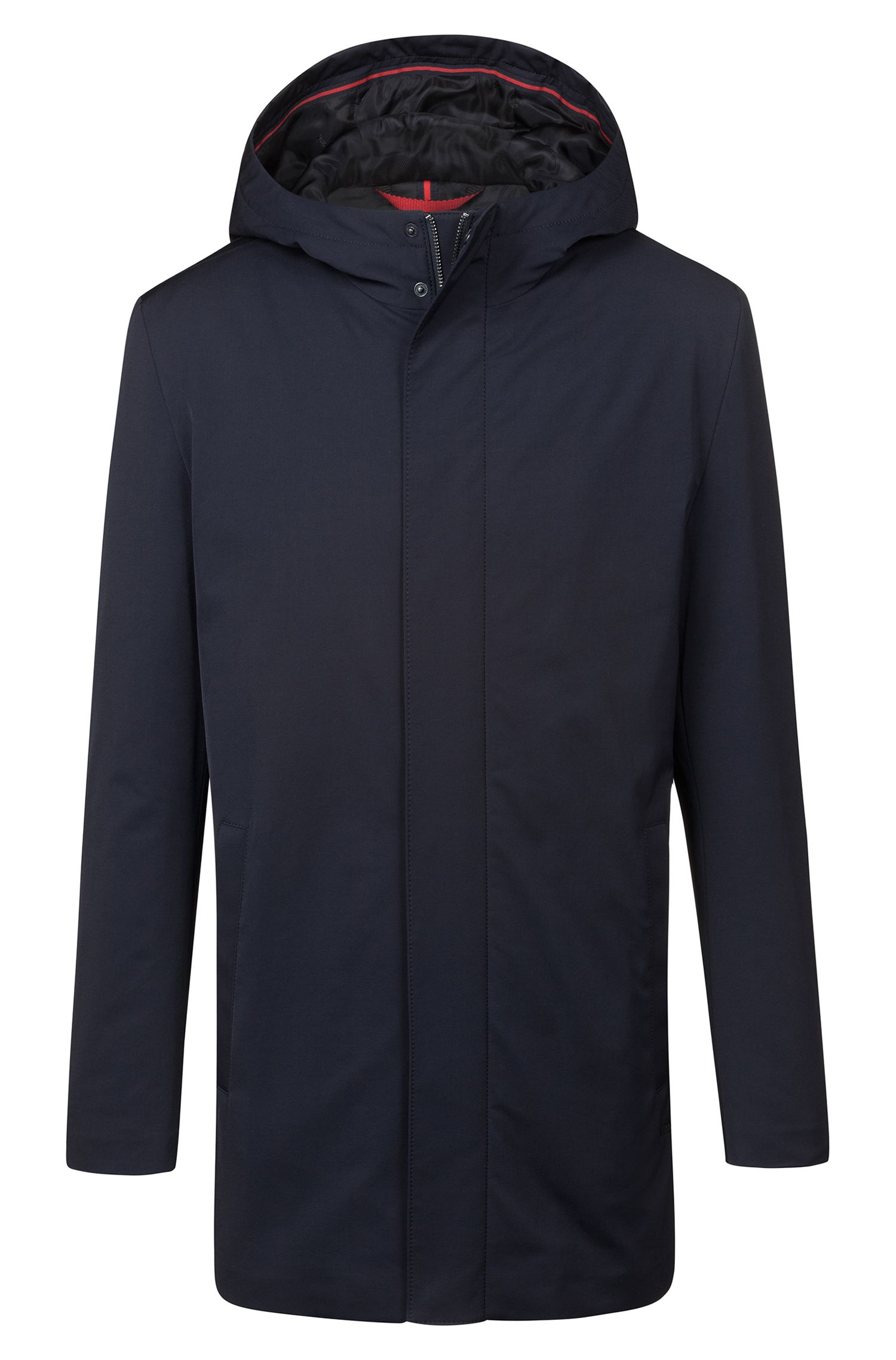 Slim-fit coat with hood and concealed zip, Dark Blue