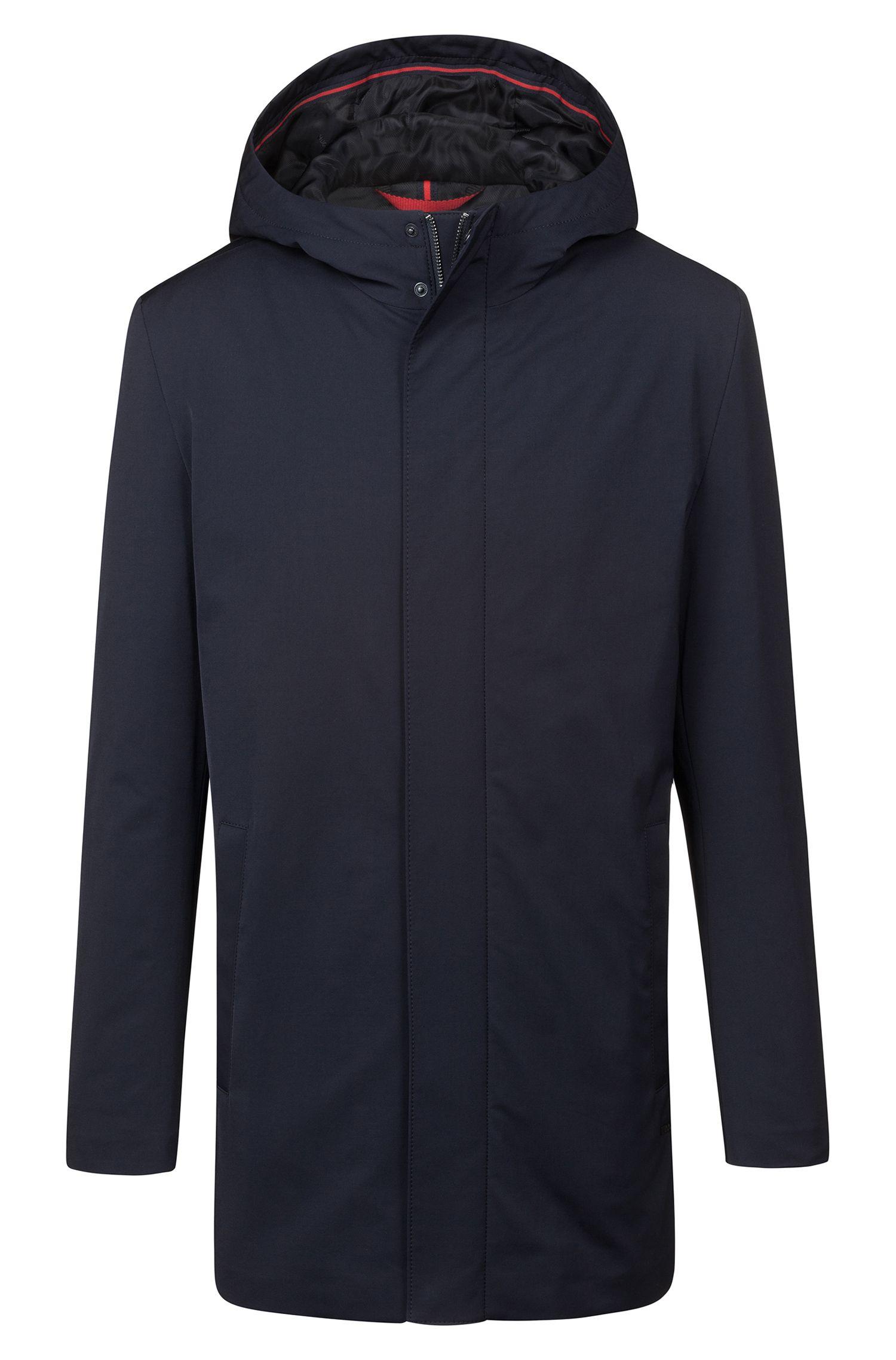 Slim-fit mantel met capuchon en verdekte ritssluiting, Donkerblauw