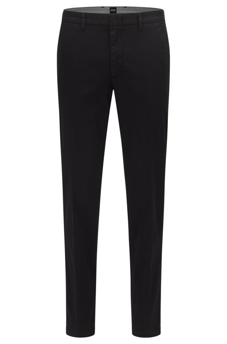 Slim-fit chinos in stretch-cotton gabardine, Black
