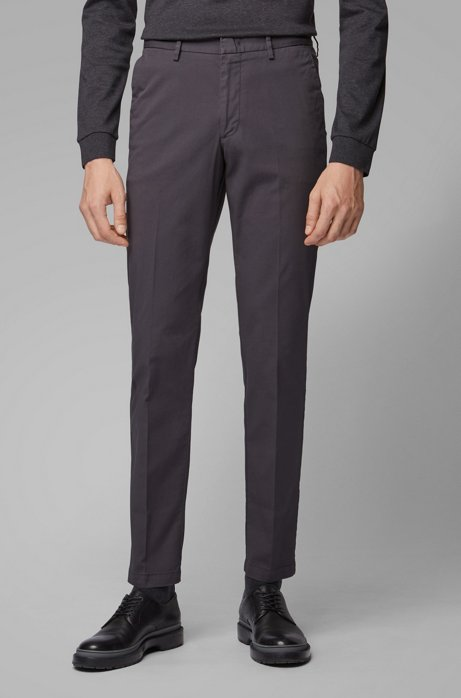 Slim-fit chinos in stretch-cotton gabardine, Dark Grey