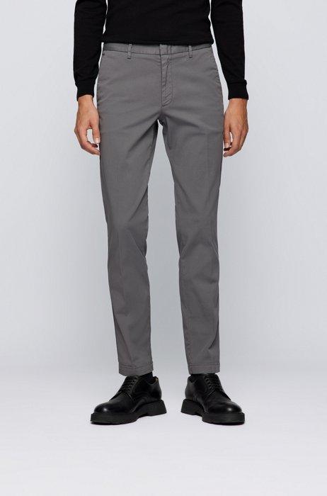 Slim-fit chinos in stretch-cotton gabardine, Dark Grey