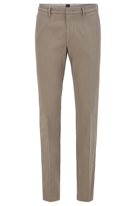 Slim-fit chinos in stretch-cotton gabardine, Grey