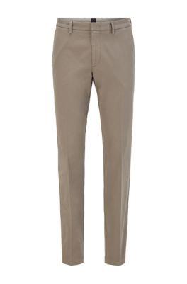 Slim-fit chinos in stretch-cotton gabardine, Grey