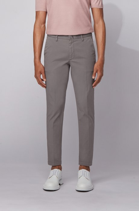 Slim-fit chinos in stretch-cotton gabardine, Light Grey