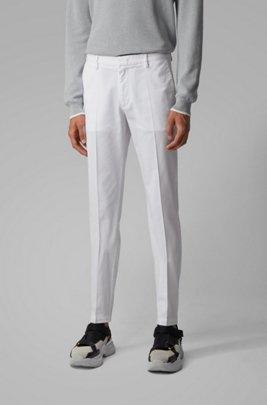 Chinos slim fit en tejido de gabardina de algodón elástico, Blanco