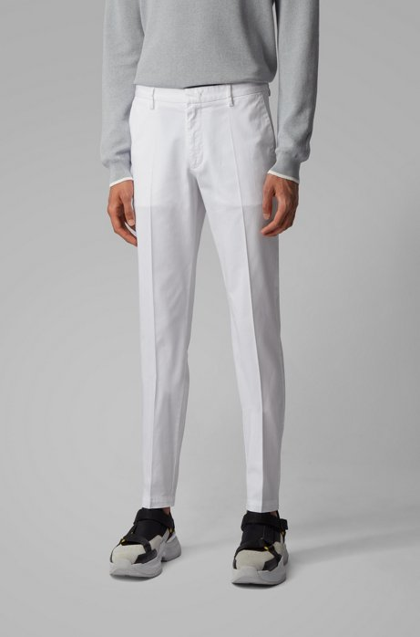 Slim-fit chinos in stretch-cotton gabardine, White