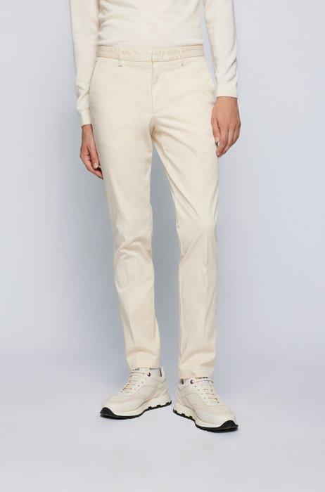Slim-fit chinos in stretch-cotton gabardine, White