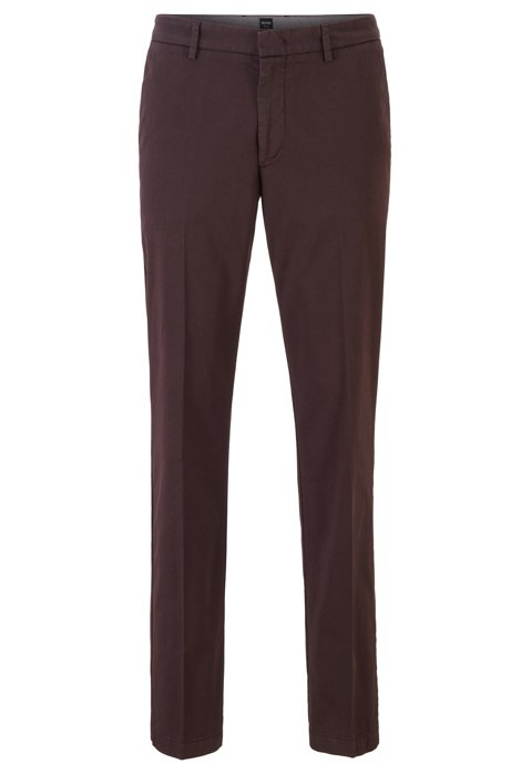 Slim-fit chinos in stretch-cotton gabardine, Dark Brown