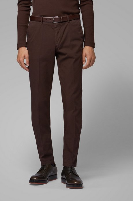 Slim-fit chino in een gabardine van stretchkatoen, Donkerbruin