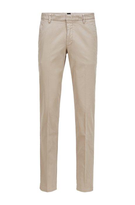 Slim-Fit Chino aus elastischer Baumwoll-Gabardine, Hellbeige
