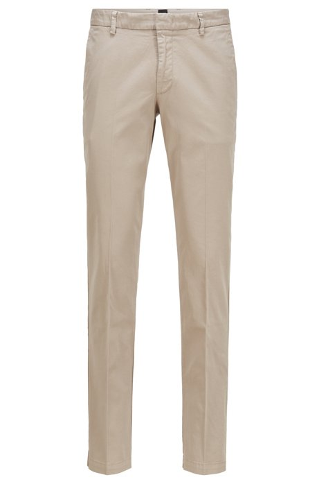 Chino Slim Fit en gabardine de coton stretch, Beige clair