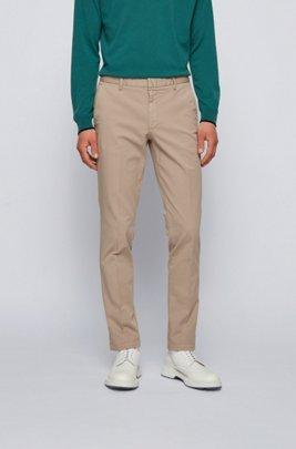 Slim-fit chinos in stretch-cotton gabardine, Light Beige