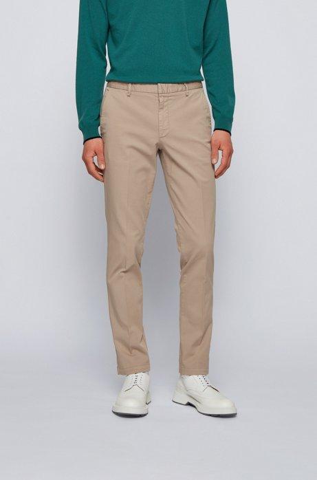 Chino Slim Fit en gabardine de coton stretch, Beige clair