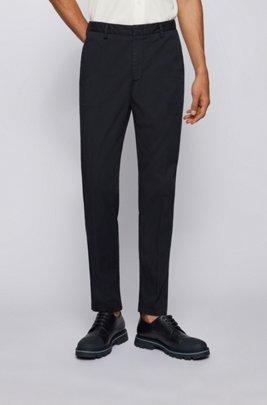 Slim-fit chinos in stretch-cotton gabardine, Dark Blue