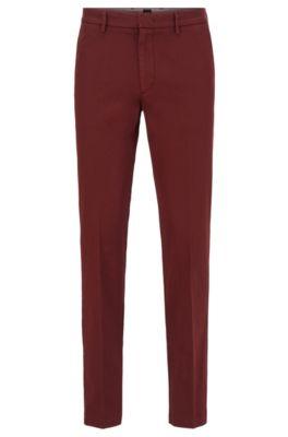 Chino Slim Fit en gabardine de coton stretch, Rouge sombre