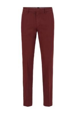 Chino Slim Fit en gabardine de coton stretch, Rouge sombre