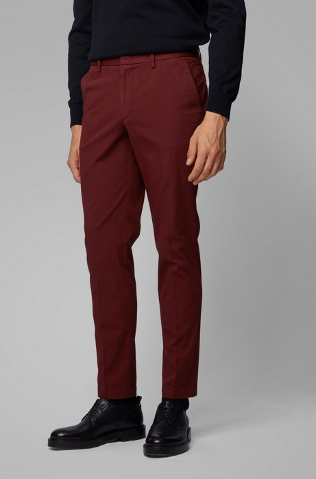 Slim-fit chinos in stretch-cotton gabardine, Dark Red