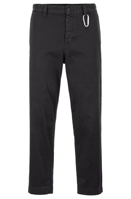 Pantalon court Tapered Fit avec fermoir mousqueton, Noir