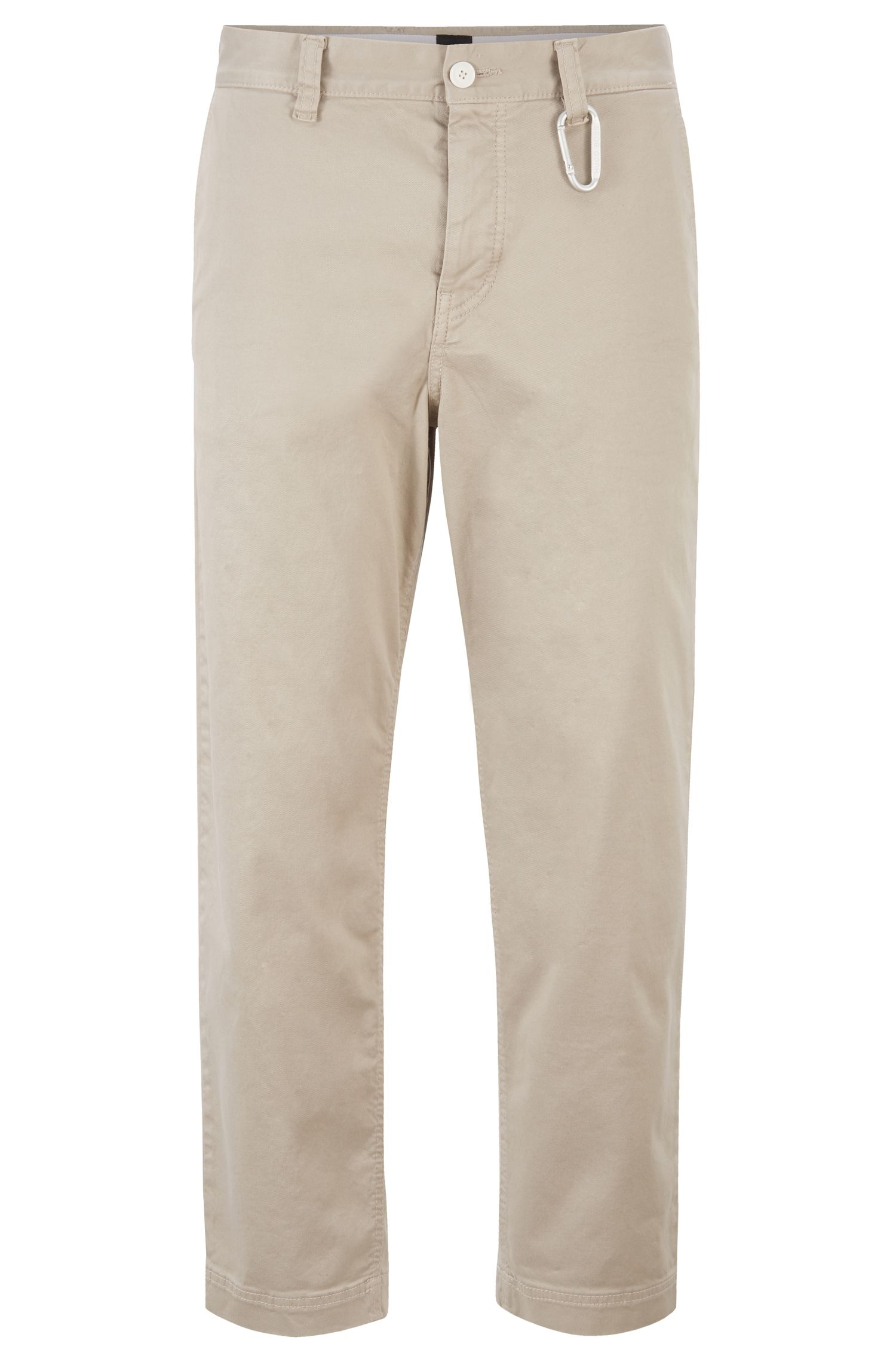 Tapered-Fit Hose in Cropped-Länge mit Karabinerhaken, Hellbeige