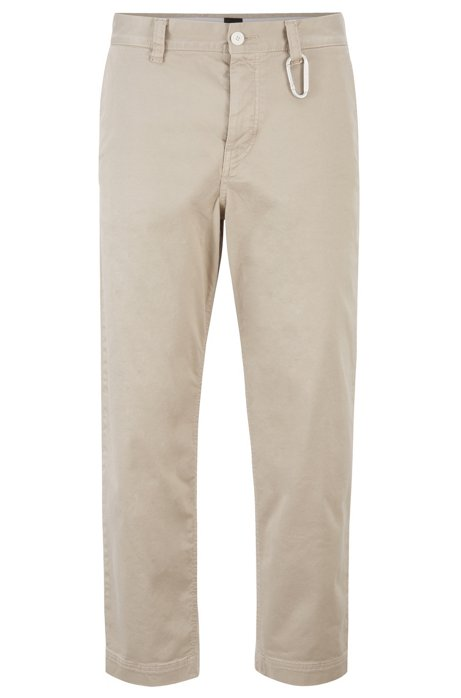 Pantalon court Tapered Fit avec fermoir mousqueton, Beige clair