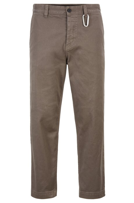 Tapered-Fit Hose in Cropped-Länge mit Karabinerhaken, Khaki