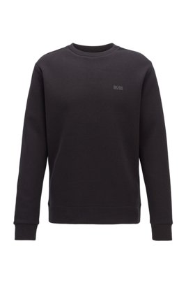 Regular-fit sweatshirt in double-faced fabric, Black