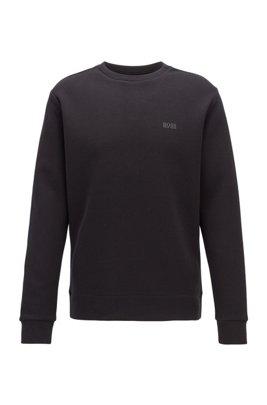 Regular-fit sweatshirt in double-faced fabric, Black