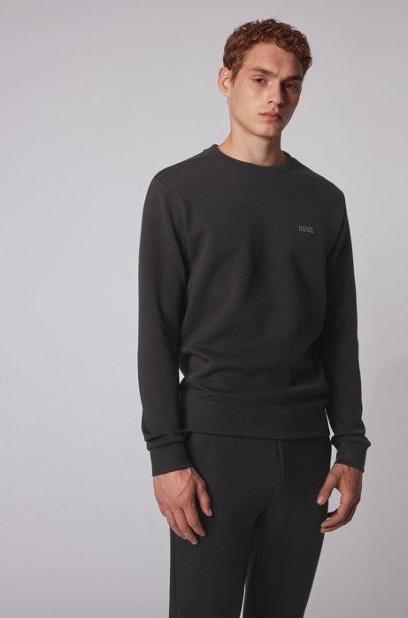 Sweatshirt aus zweiseitigem Material-Mix mit Baumwolle, Schwarz