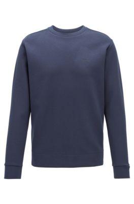 Sweatshirt aus zweiseitigem Material-Mix mit Baumwolle, Dunkelblau
