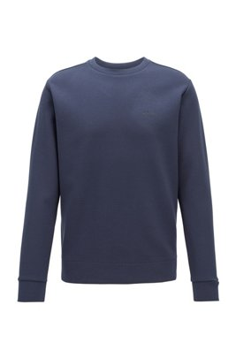 Regular-fit sweatshirt in double-faced fabric, Dark Blue