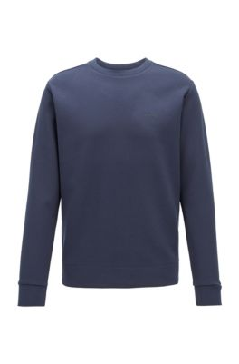 Regular-fit sweater van dubbellaags materiaal, Donkerblauw