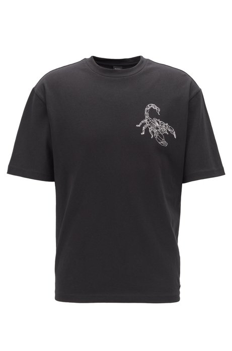 Relaxed-fit T-shirt with high-density scorpion print, Black