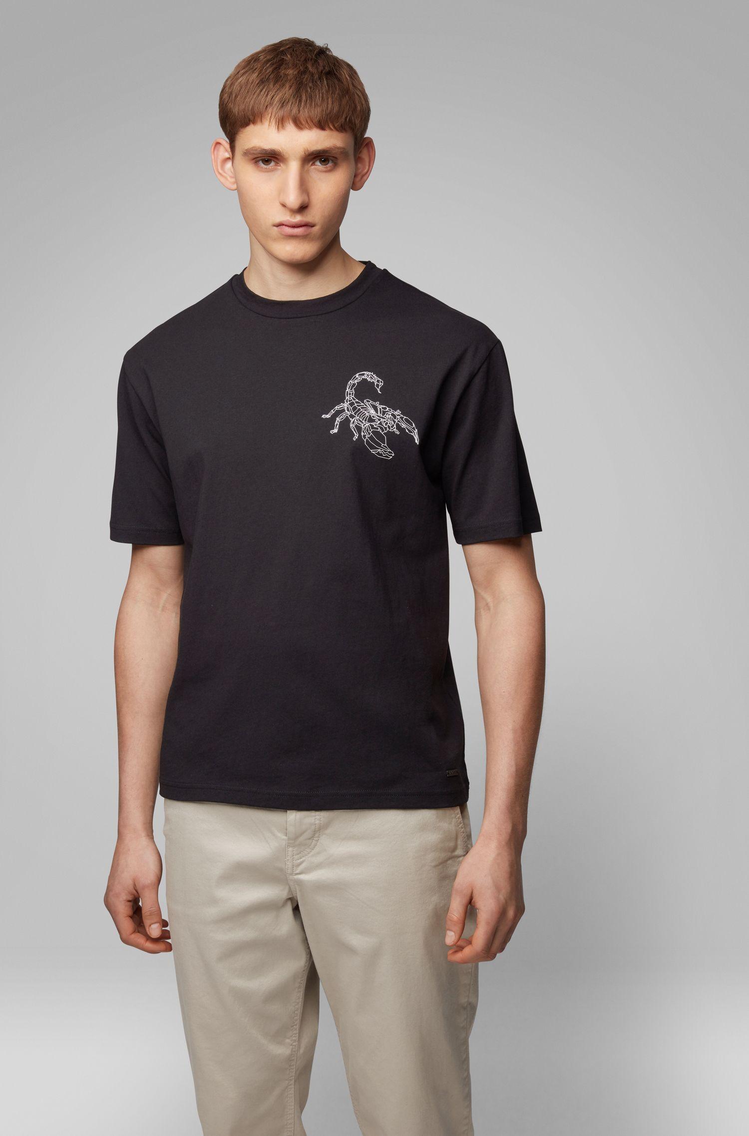 T-shirt Relaxed Fit à imprimé scorpion haute densité, Noir