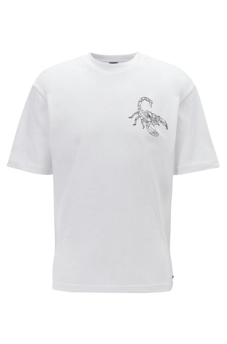 Relaxed-fit T-shirt met gedetailleerde schorpioenprint, Wit