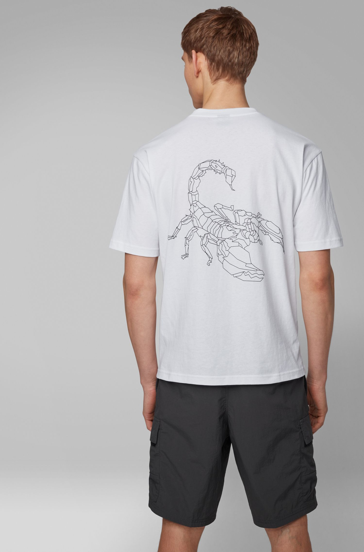 Relaxed-fit T-shirt with high-density scorpion print, White