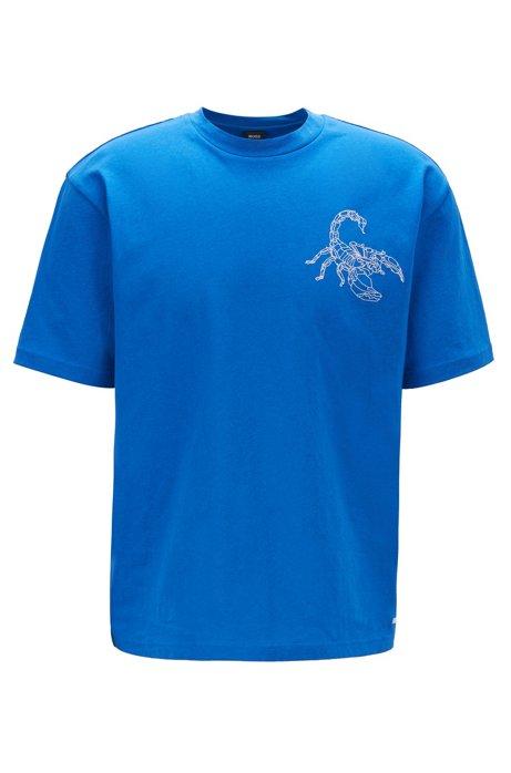 Camiseta relaxed fit con estampado de escorpión de gran densidad, Azul