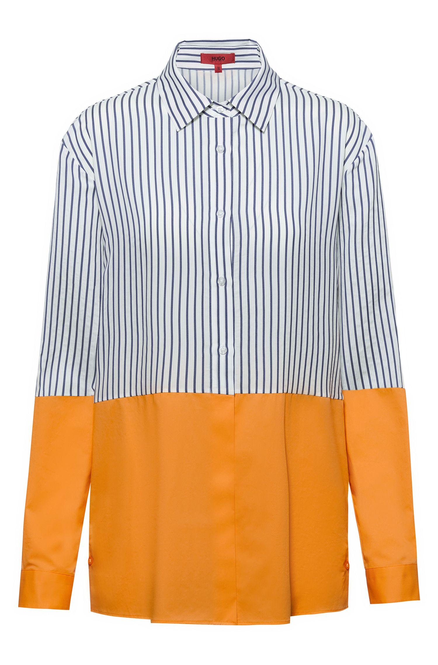 Relaxed-fit blouse met colourblocking en knopen aan de zijnaad, Bedrukt