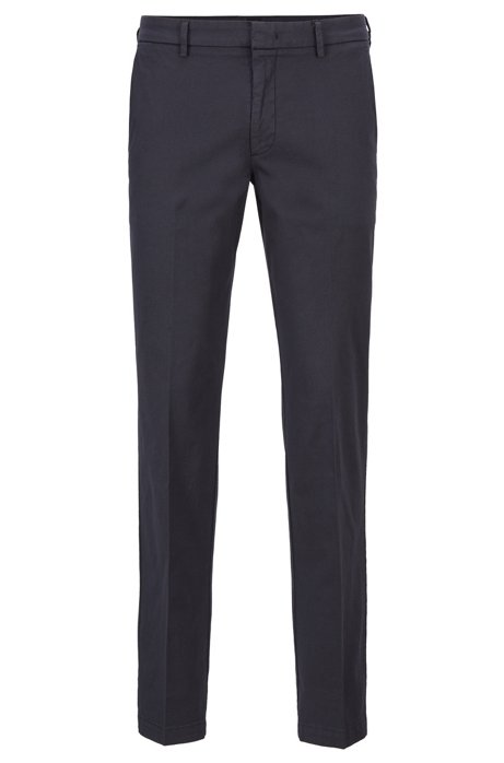Slim-fit chinos in Italian stretch cotton, Dark Blue