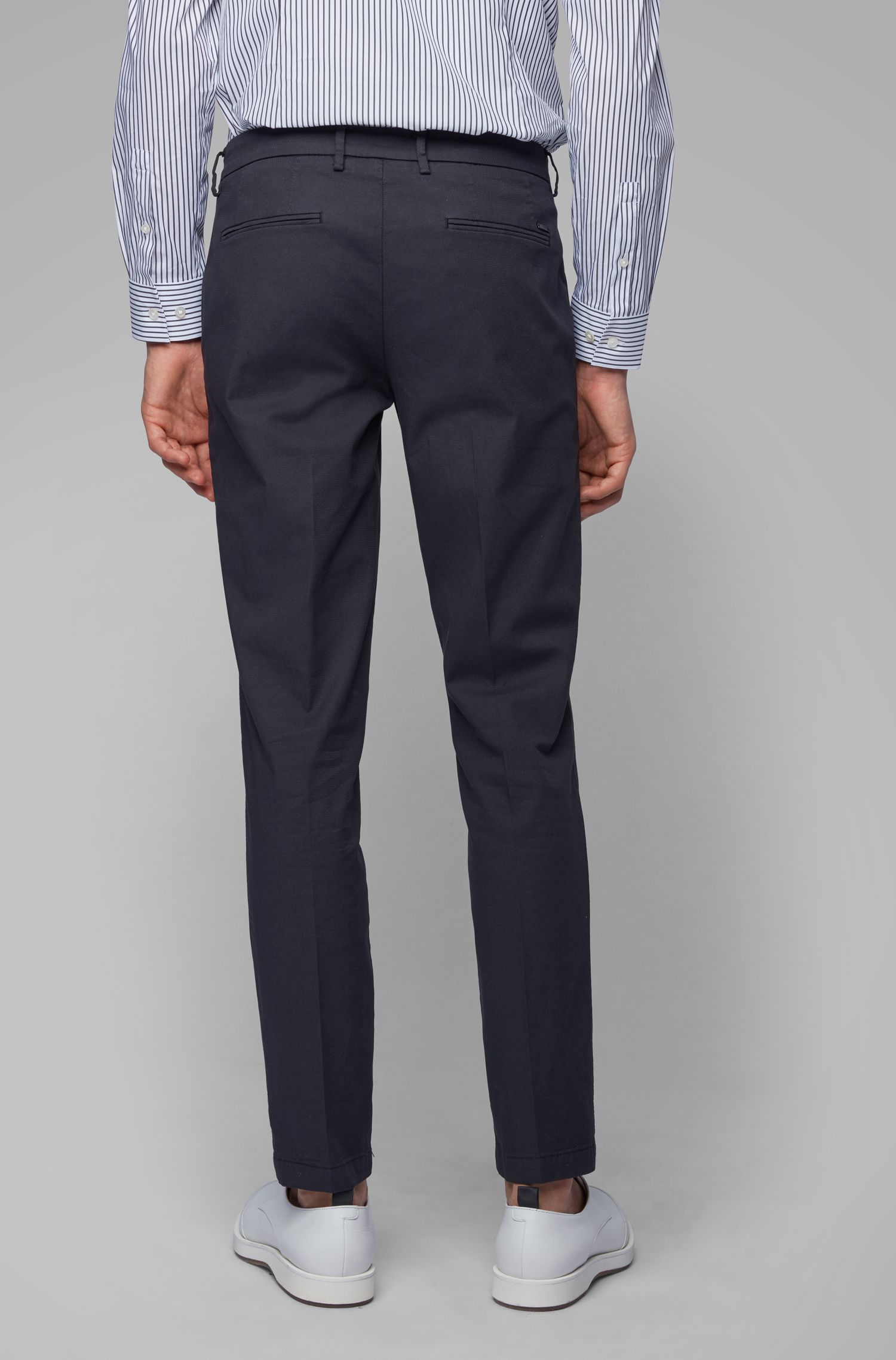 Chino Slim Fit en coton italien stretch, Bleu foncé