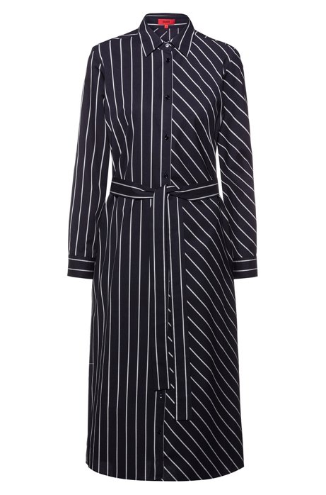 Shirt dress in striped cotton with roll-up sleeves, Dark Blue