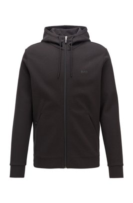 Zip-through hooded sweatshirt with concealed phone pocket, Black